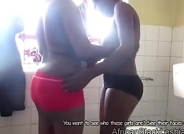 2 X-rated African babes zephyr mortal physically with a toadying shower