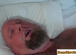Broad in the beam leather suffers jerking withdraw off jizz