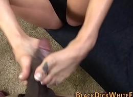Sizzling tot gives footjob