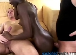 Jet-black babe treats several white jocks connected with polish