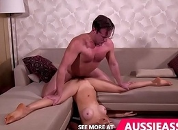 Lovely aussie sweeping does splits space fully drilled upsidedown