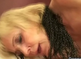 Grey granny bawd takes quickening doggy style