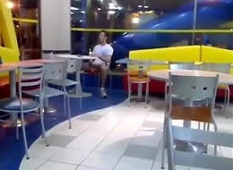 Sex-crazed beggar jerking-off to hand McDonald'_s