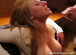 Unspecific roughly broad in the beam titties receives Herculean facial cumshot